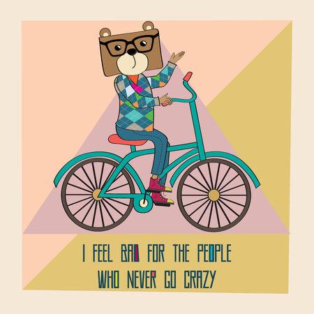 bike cover: Hipster poster with nerd bear riding bike, vector illustration Illustration