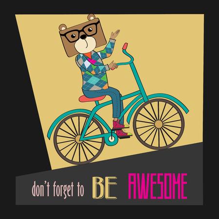 bicicleta vector: Cartel del inconformista con el oso empollón montar en bicicleta, ilustración vectorial