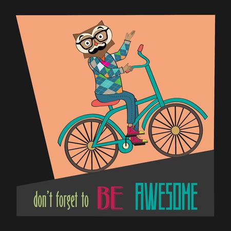 bike cover: Hipster poster with nerd owl riding bike, vector illustration