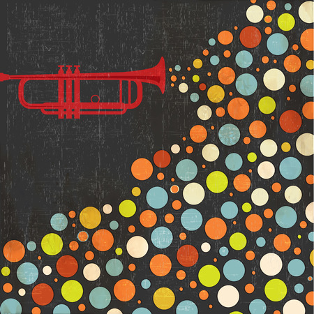 concert audience: Music background with trumpet and balls, vector illustration