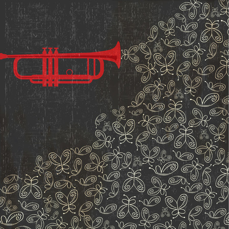 musician silhouette: Music background with trumpet and butterflies, vector illustration Illustration