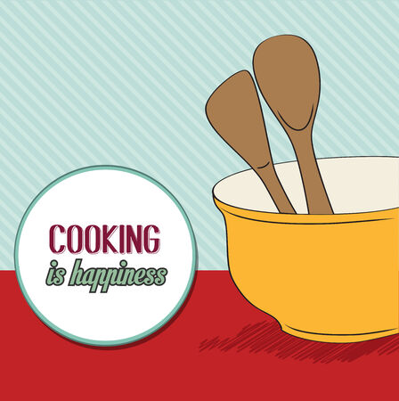 background with kitchen cooking wooden utensils storage pot, vector format Vector