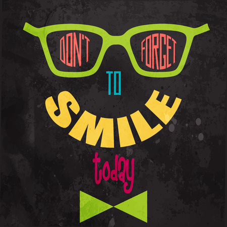 smiley face: Dont forget to smile! Motivational background in vector format