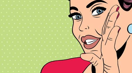 pop art retro woman in comics style, vector illustration