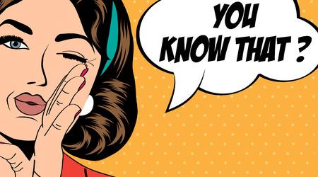 Mujer del arte pop retro de estilo cómic, ilustración vectorial