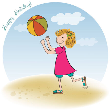 girl playing ball on the beach, vector illustration Vector