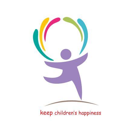 felicit�: tenere felicit�, illustrazione vettoriale per bambini