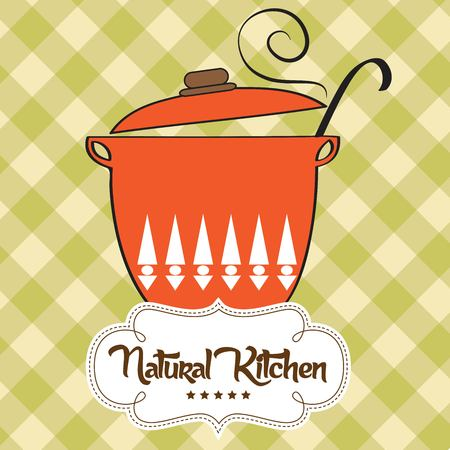 cooking pot: Cooking pan with message natural kitchen, vector illustration