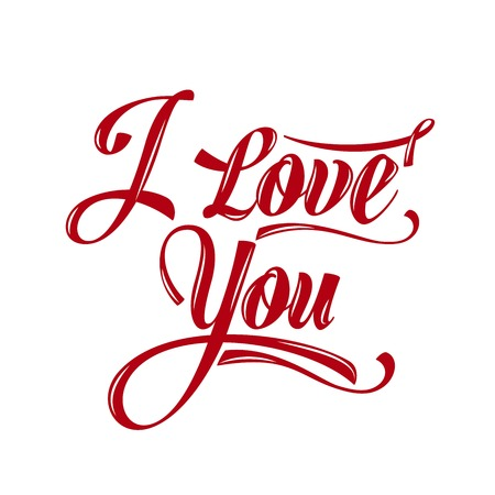 type lettering: Calligraphic  Writing i love you, vector illustration