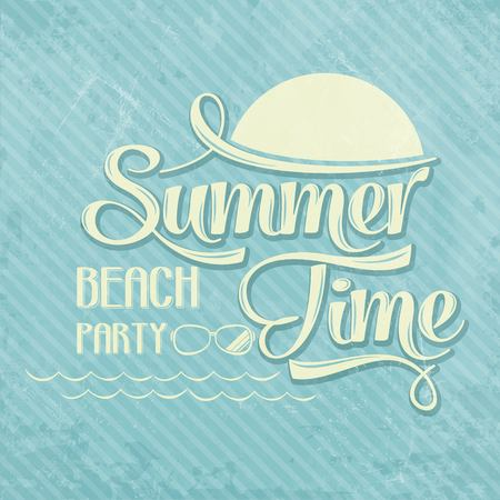 Calligraphic  Writing Summer time - beach party, vector illustration Vector