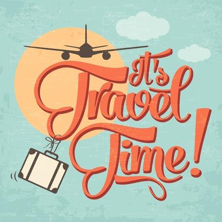 """Kalligrafische Schrijven """"Het is Travel Time"""". vector illustratie Stock Illustratie"""