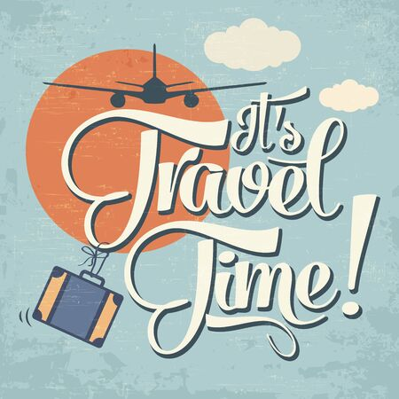 vintage airplane: Calligraphic  Writing Its Travel Time. vector illustration Illustration