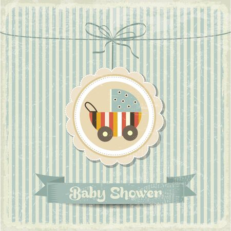 vintage baby: retro baby shower card with stroller, vector format Illustration