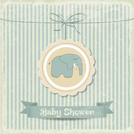newborn baby girl: retro baby shower card with little elephant, vector format Illustration