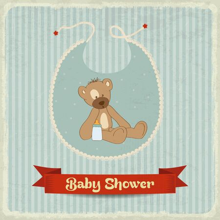 vintage baby: retro baby shower card with teddy bear, vector format