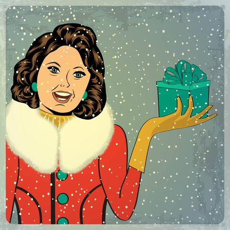 elegant young and happy woman in winter, retro Christmas card, vector illustration Vector