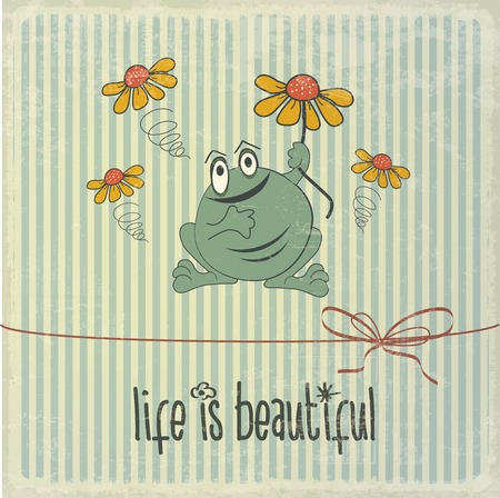 moments: Retro illustration with happy frog and phrase Life is beautiful, vector format