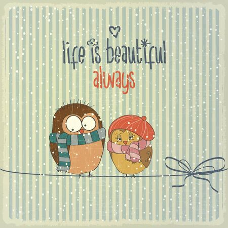 Retro illustration with happy couple birds in winter and phrase Life is beautiful, vector format Vector