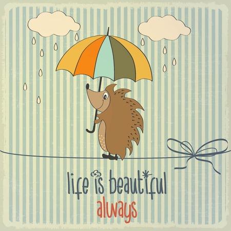 Retro illustration with happy hedgehog and phrase