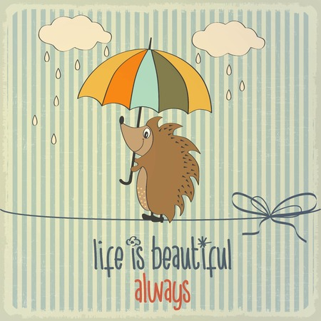 Retro illustration with happy hedgehog and phrase Life is beautiful, vector format Illustration