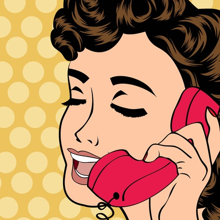 pop art cute retro woman in comics style, vector illustration Vector