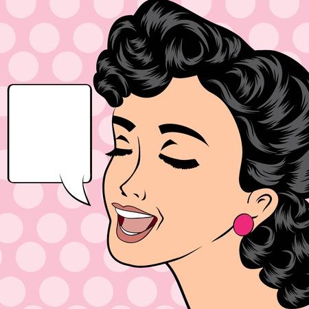 pop art woman: pop art cute retro woman in comics style, vector illustration