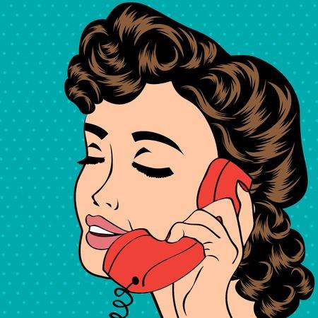 pop art cute retro woman in comics style, vector illustration