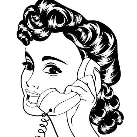 open lips: pop art cute retro woman in comics style, vector illustration