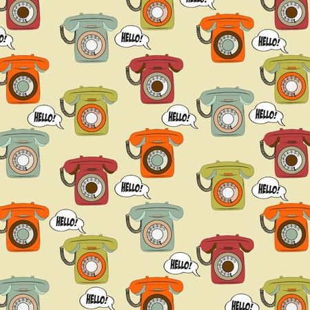 old items: background with retro phone, illustration in vector format