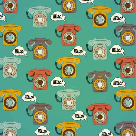 rotary: background with retro phone, illustration in vector format