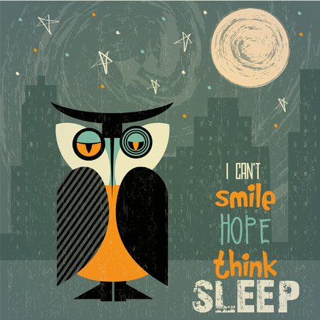 owl with insomnia, illustration in vector format