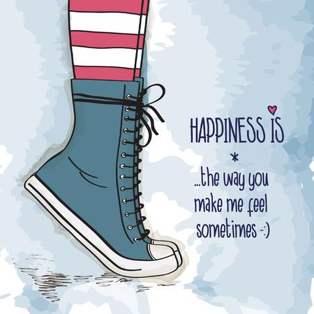the first love: ni�a con zapatos en zapatillas de deporte, se puso de puntillas, ilustraci�n vectorial Vectores