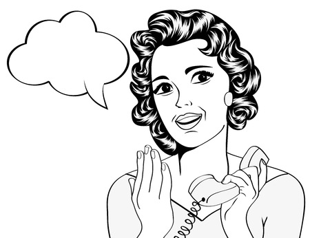 cute retro woman in comics style with message, vector illustration Vector