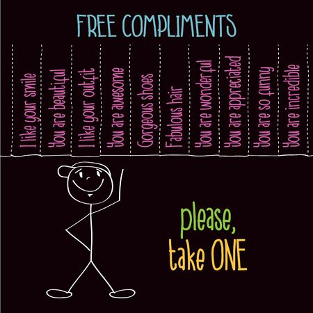 Funny illustration with message:  Free compliments, please take one, vector format