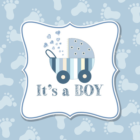 baby boy announcement: Baby boy  invitation for baby shower, vector format