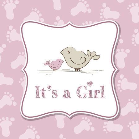 Invitation fille bébé pour le bébé, format vectoriel Banque d'images - 35744136