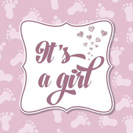 specifically: Baby girl  invitation for baby shower, vector format Illustration