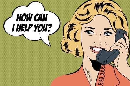 pop-art leuke retro vrouw in strips stijl met bericht, vector illustratie