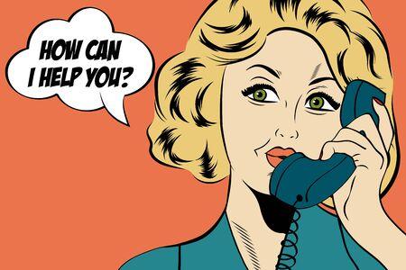 nette Retro Frau Pop-Art im Comic Stil mit Nachricht, Vektor-Illustration