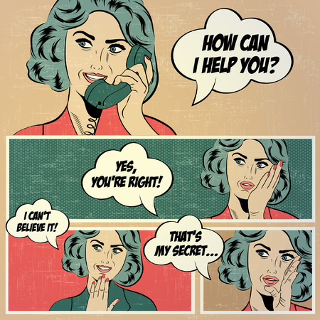 think up: Illustrations for comic books with retro woman in pop art style, vector format Illustration