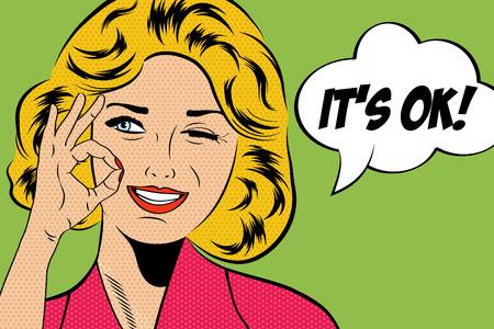 pop art leuke retro vrouw in comics stijl met bericht, vector illustratie Stock Illustratie