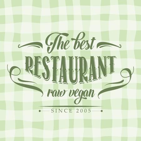 rindfleisch roh: retro raw vegan Restaurant Plakat, Darstellung im Vektorformat