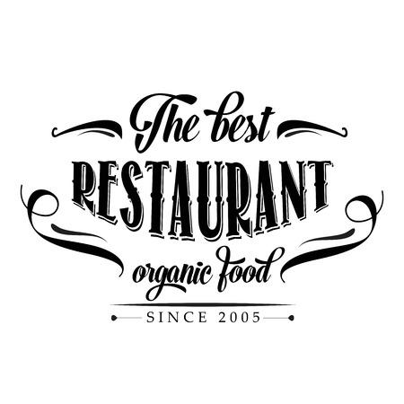 복고풍 유기농 식품 레스토랑 포스터, 벡터 형식으로 그림 일러스트