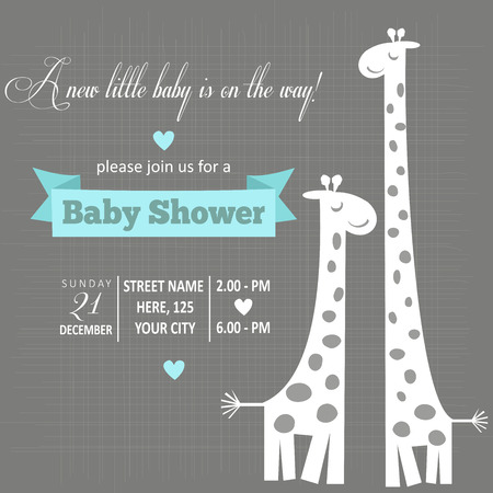 cute giraffe: baby boy shower card , vector illustration