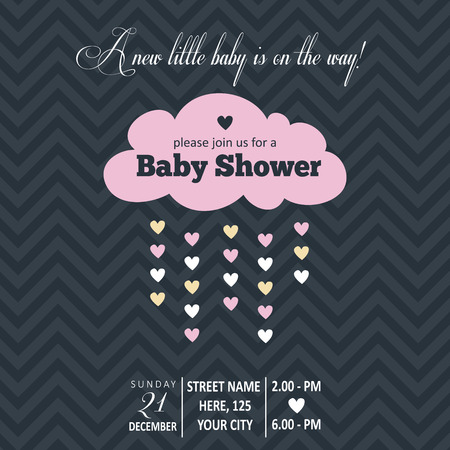 cartoon party: Baby girl  invitation for baby shower, vector format Illustration