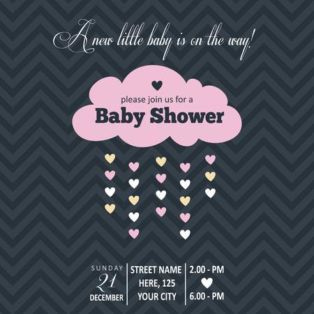 bebes ni�as: Invitaci�n del beb� por un baby shower, formato vectorial