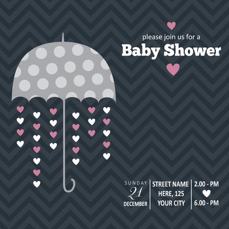 Baby girl  invitation for baby shower, vector format Illustration