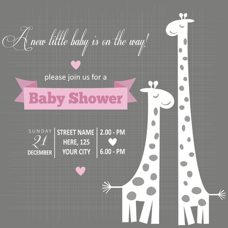 cute giraffe: Baby girl  invitation for baby shower, vector format Illustration