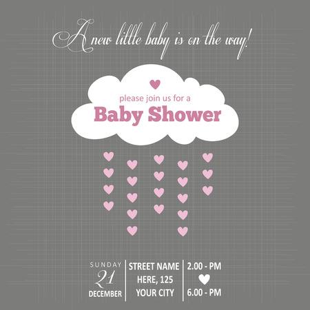 girl in rain: Baby girl  invitation for baby shower, vector format Illustration