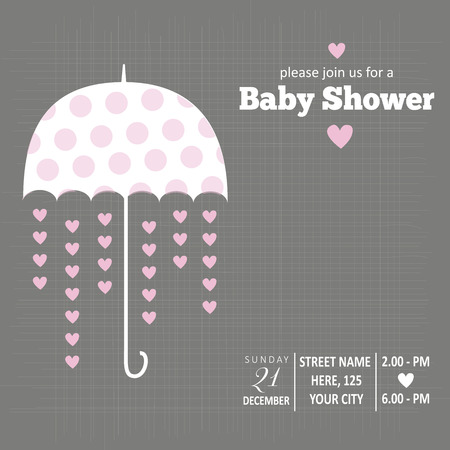 Baby girl  invitation for baby shower, vector format Çizim